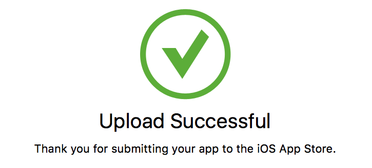 Apple AppStore Upload Successful